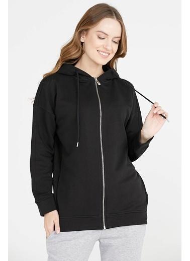 Sementa Kapüşonlu Fermuarlı Sweatshirt  Siyah